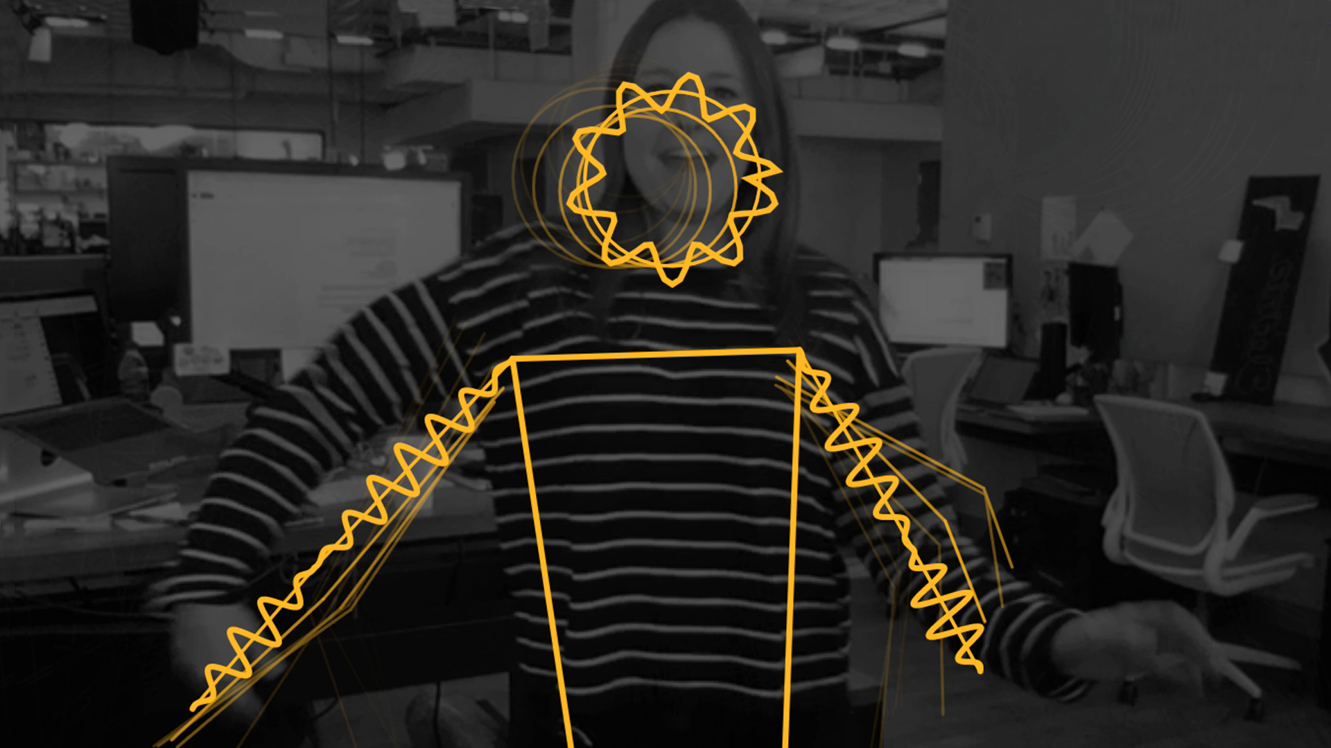 Black and white web camera feed of woman  raising arms slightly. Yellow lines are mapped over the her body and lines are squiggly, to indicate movement and sound.