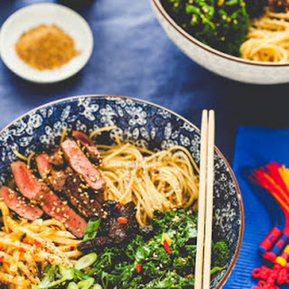 Ramen Bowl with Sesame Poppy Seed Venison Ginger Chili Kale and Swede Recipe