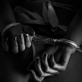 I'm Yours by Vincent Yates - Nudes & Boudoir Boudoir ( lingerie, hands, black and white, handcuffs, nails, bow,  )
