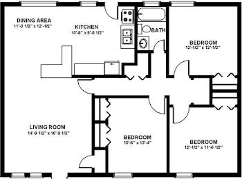 Go to Three Bedroom Flat Floorplan page.