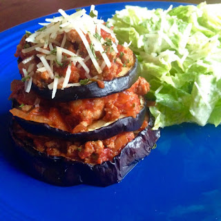 """Eggplant Bolognese Stacks With Parmesan & An Adapted Kiddie Version, Too""."