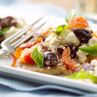 Fast-Fry Pork Loin Chops with Feta Cheese and Black Olives.