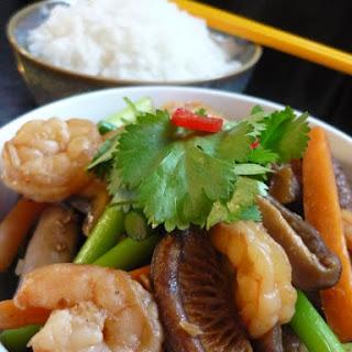 Prawn, Garlic Shoot And Shiitake Mushroom Stir-fry.