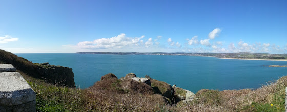 Photo: Mounts Bay from St Michael's Mount, towards Penzance and Newlyn.