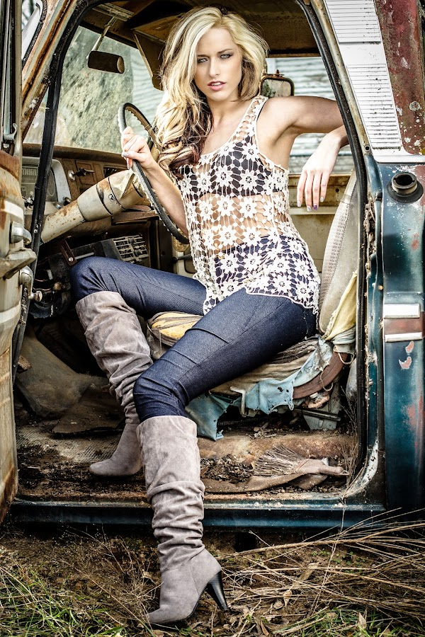by ETImagez Photography - People Portraits of Women ( sexy, blonde, gorgeous, beautiful, jeans, denim, legs, stunning, old truck, boots, country )