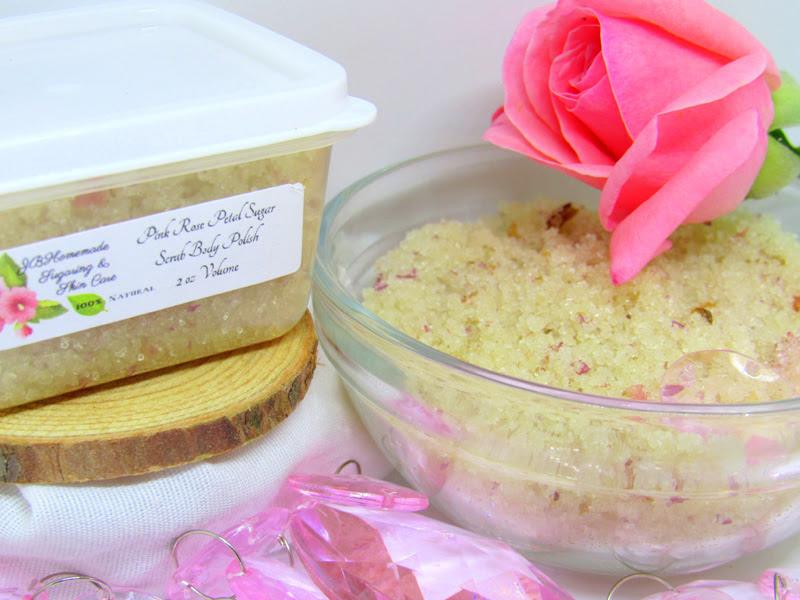 Natural Pink Rose Petal Sugar Scrub Body Polish - 2 Oz