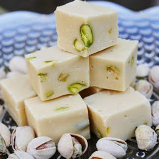 Baileys, White Chocolate and Pistachio Fudge.