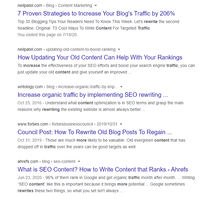Top Google searches for 'rewrite content for more traffic' depicting how to rewrite content for more traffic