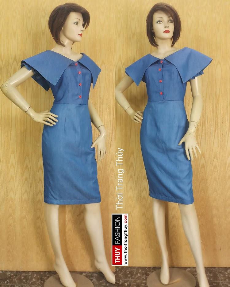 Váy bút chì cổ cách điệu xòe cánh V677 thời trang thủy hải phòng