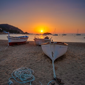 Tossa de Mar, Spain by F Kelly - Landscapes Sunsets & Sunrises ( spain, sunrise, beach, fishing, tossa de mar, boats, sea,  )