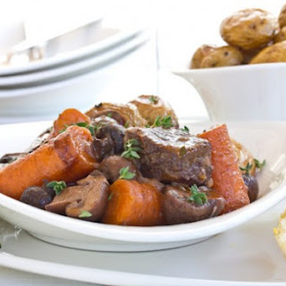 Boeuf Bourguignon with Roasted Potatoes.