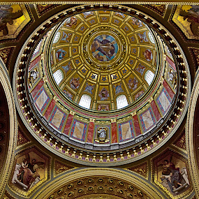 Cupola by Peter Greenhalgh - Buildings & Architecture Places of Worship ( hungary, king of hungary, budapest, ornate, church, ceiling, szent istván-bazilika, cathedral, st stephen's, roman catholic, basilica )