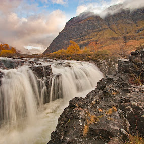 Autumn Flow by Ian Pinn - Landscapes Mountains & Hills ( scotland, mountains, glencoe, autumn, waterfall, river )