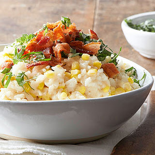 Sweet Corn Risotto With Basil and Bacon