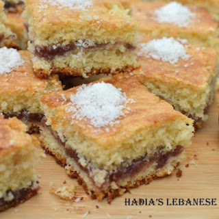 Almond and Coconut Sheet Cake Filled with Jam