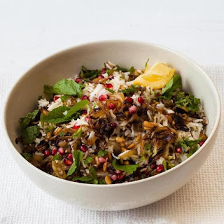 Rice Pilaf With Eggplant, Onions, And Pomegranate Seeds