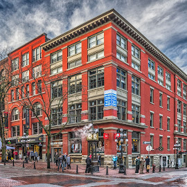 Cambie & Water St. by Garry Dosa - Buildings & Architecture Public & Historical ( red, city, historic area, automobiles, winter, cityscape, clock, people, building )