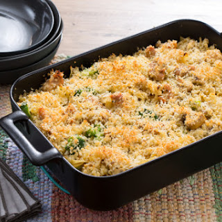 Chicken Tetrazzini with Mushrooms, Broccoli & Parmesan Breadcrumbs