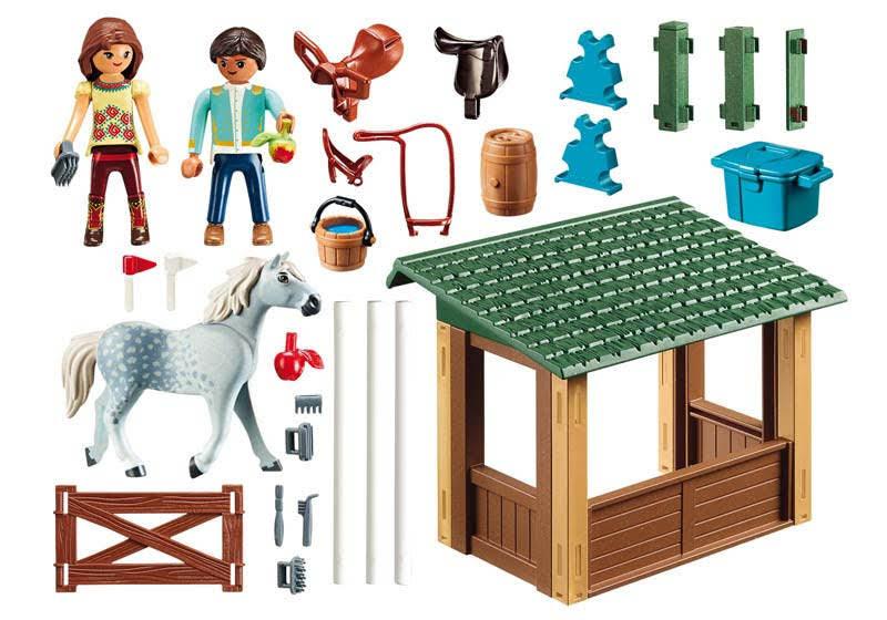 Contenido real de Playmobil® 70119 Paddock con Fortu, Pru y Abigail