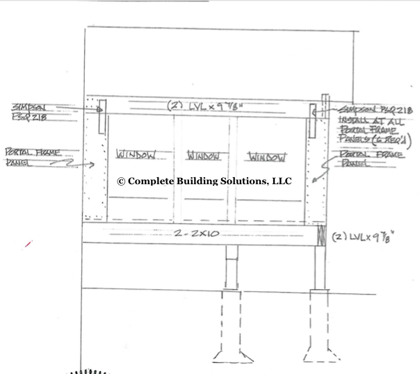 hand-drawn structural drawing
