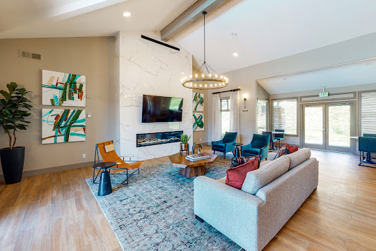 Clubhouse with modern decorations, plush furniture, hanging light fixture, fireplace area, and TV