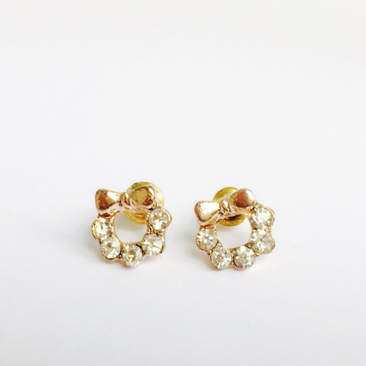 E011 - G. Teensy-Weensy Crystal bow Earrings by House of LaBelleD.