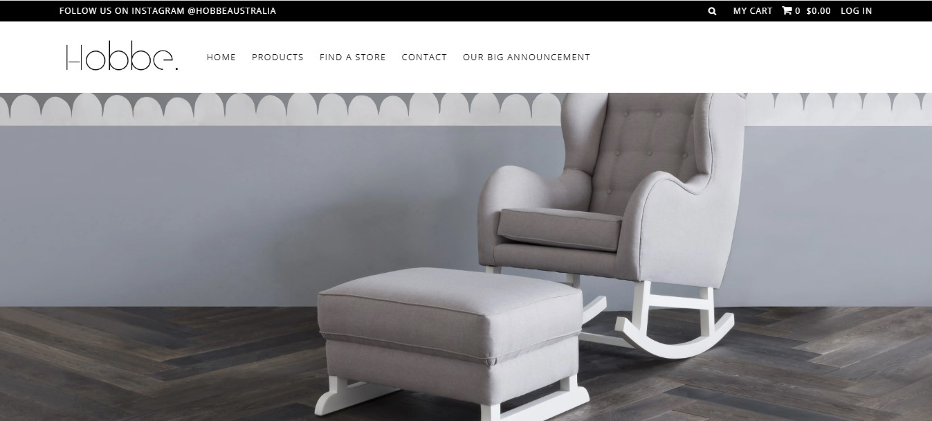 Hobbe's landing page - bright grey rocking chair in a room