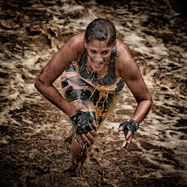 Determined Désirée by Marco Bertamé - Sports & Fitness Other Sports ( water, 669, splatter, splash, differdange, 2015, number, désirée, waterdrops, running, luxembourg, mud, strong, woman, dirty, drops, determined, lady, strongmanrun, smile,  )