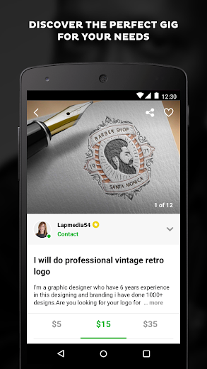 Screenshot 2 for Fiverr's Android app'