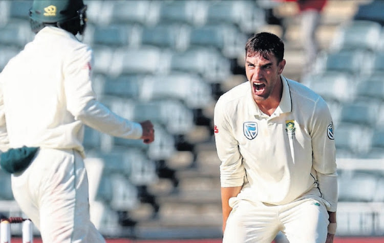 Gotcha: Duanne Olivier celebrates a wicket during the third test at the Wanderers. Picture: MUZIL MTOMBELA/BACKPAGE PIX