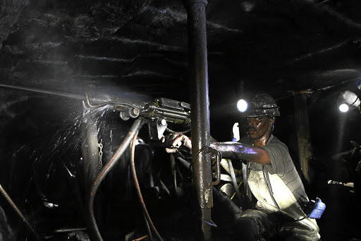 A rock drill operator  works underground at a Lonmin platinum mine in Springs. Picture: Moeletsi Mabe