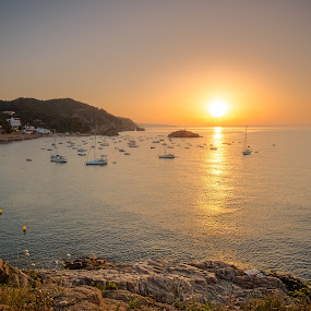 Tossa de Mar, Spain by F Kelly - Landscapes Sunsets & Sunrises ( spain, sunrise, tossa de mar, boats, sea )