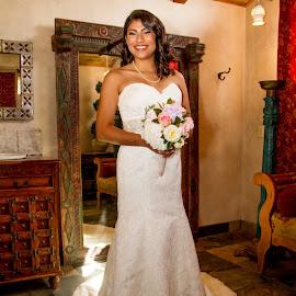 Ready to Go by Matthew Chambers - Wedding Bride ( bride, tan, dress, hispanic, chapel dulcinea, matthew chambers photography, chapel, getting ready )
