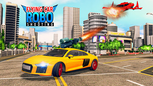 Flying Car Games 2020- Drive Robot Shooting Cars 1.0 screenshots 5