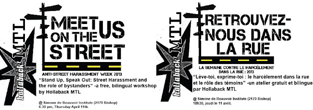 Photo: Hollaback Montreal will host a street harassment workshop on April 11