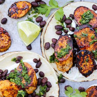 Plantain and Black Bean Tacos with Chimichurri Sauce