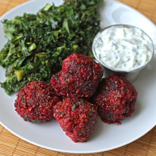 Lamb, Beet, and Cracked Wheat Meatballs with Cucumber Yogurt Sauce.
