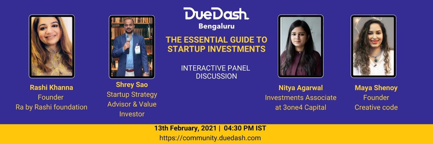 DueDash Bengaluru: Panel discussion - The essential guide to startup investments