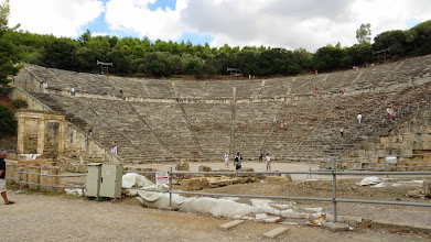 Photo: This is the ancient theater at Epidauros. It is located on  really big site that was dedicated to Aesculapius, and therefore healing, but the theater here is the thing. It's the best preserved ancient Greek theater. They dug it out of the ground looking not too far off from what you see today.
