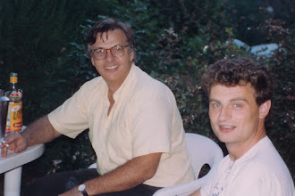 Photo: Yves and Jean-Pierre Guedon at Bizais' family farm near Nantes, France; 1994  KMH
