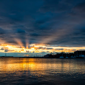 Breaking Throught by John Goff - Landscapes Starscapes ( annapolis city dock sunrise )