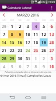 Screenshot of Calendario Laboral 2016 España