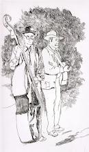 Photo: Bluegrass Musicians . etching . 8x10