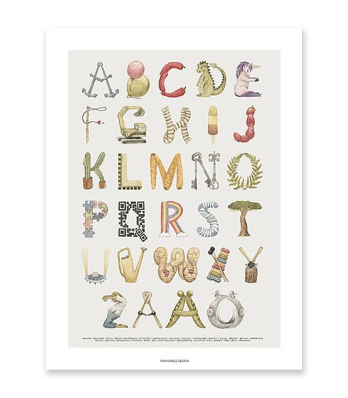 Fashionell - Lekfulla ABC Poster 30x40