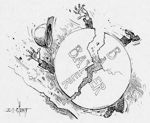 Karikatur: Bayerkreuz rollt bergab und wirft Arbeiter um.