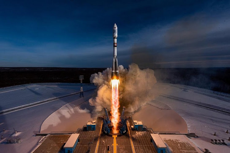 The Soyuz-2.1a carrier rocket, carrying nanosatellites from SA, the US, Spain and Germany, luanching on December 27 2018 from the Baikonur East in Serbia, Russia. Picture: SUPPLIED