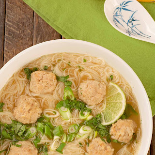 Vietnamese Style Meatball Noodle Soup.