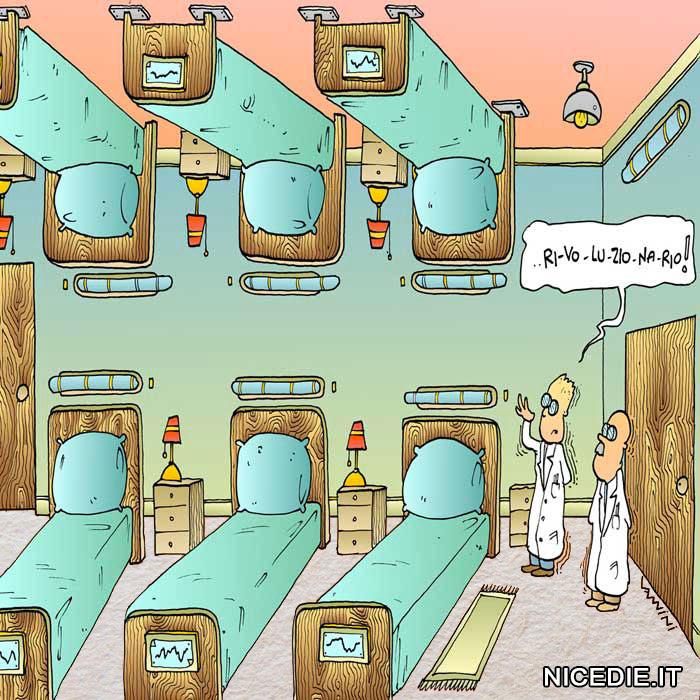 un reparto dell'ospedale, ci sono dei letti sul soffitto