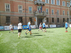 Photo: Soccer game in the PIazza del Populo, seen while heading to the famous churches in Ravenna