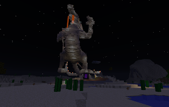 Photo: the Godzilla, downloaded from standardsurvival.com using the WorldDownloader mod, saved to .schematic using Mineways (mineways.com), and imported into synthetic-gem using WorldEdit :-)